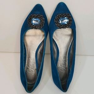 Fergie pointed toe blue suede Flats size 6